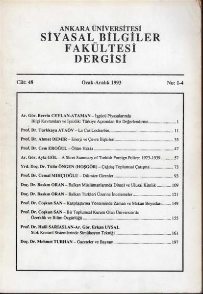 ANKARA ÜNİVERSİTESİ SBF DERGİSİ