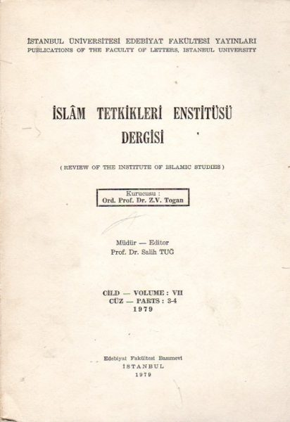 İSLÂM TETKİKLERİ ENSTİTÜSÜ DERGİSİ